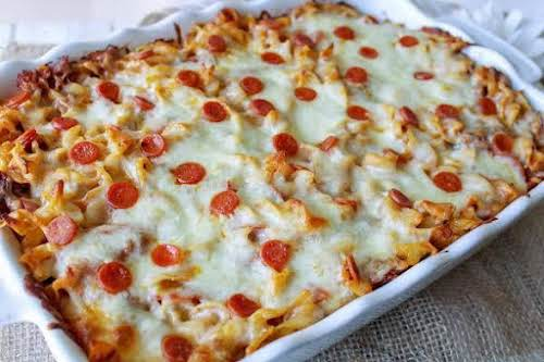 "Pizza Casserole""A quick, easy, and delicious casserole recipe all busy cooks should..."
