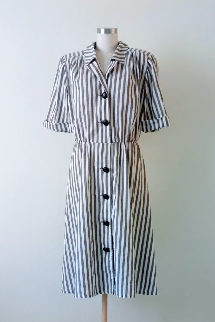 Before: refashioned striped wrap dress - DIY Fashion Garments | fafafoom.com