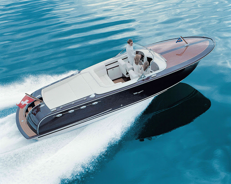 One of the incredible, handcrafted Pedrazzini motoryachts on the water