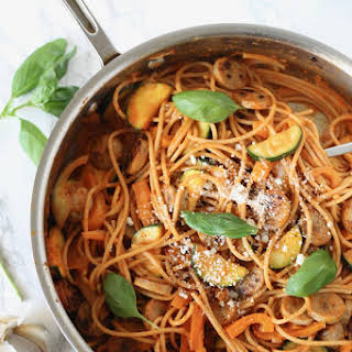 Roasted Red Pepper Pasta with Chicken Sausage and Vegetables.