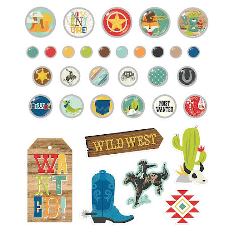 Simple Stories Decorative Brads - Howdy!
