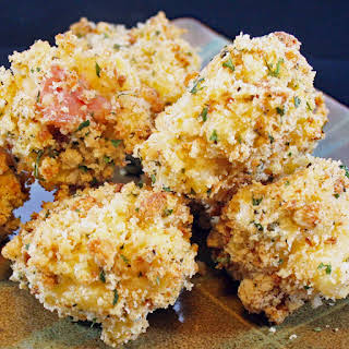 Oven Baked Breaded Macaroni and Cheese Bites.