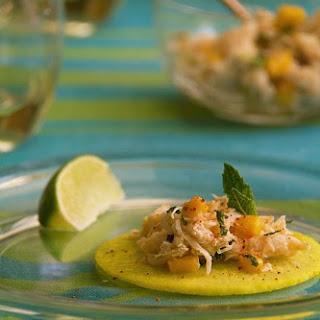 "Crab Tacos with Pickled Jicama ""Tortillas""."