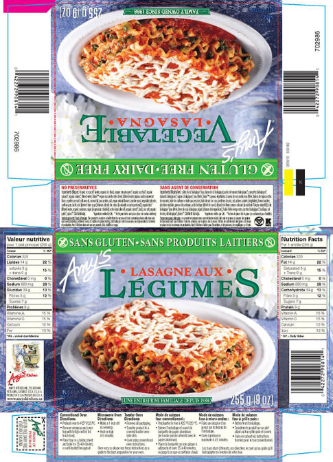 Amy's brand Gluten Free Dairy Free Vegetable Lasagna - 255 g