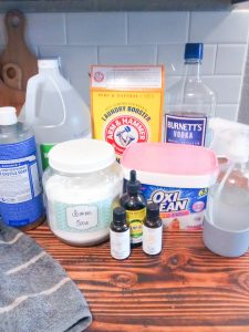 Learn how to make your own household cleaning products and save money every month! We save over $600 a month on groceries and household items
