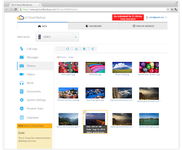 G Cloud Backup Screenshot