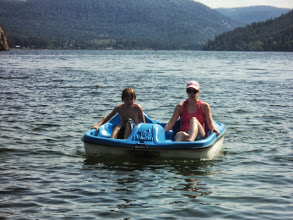 Photo: Carmen and Brendan returning from a pedal on the lake.