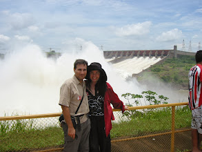 Photo: Posing in front of the spillway