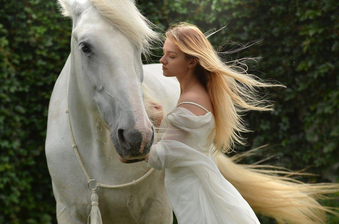 woman in white with white horse