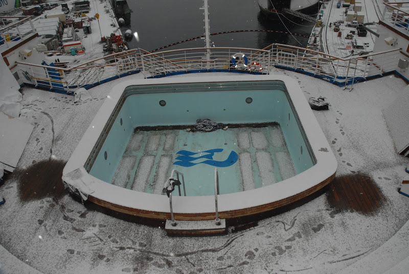 Photo: Sapphire Princess Drydock Update -- January 18: The empty Terrace Pool is blanketed by snow.
