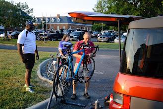 Photo: Cycles Ed checks some bikes before the ride start