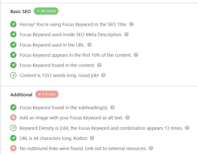 SEO-plugin Rank Math ger en tydlig rapport och checklista för din sida