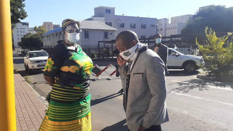 Bathabile Dlamini and Mzwandile Masina at court in Bloemfontein on Friday.