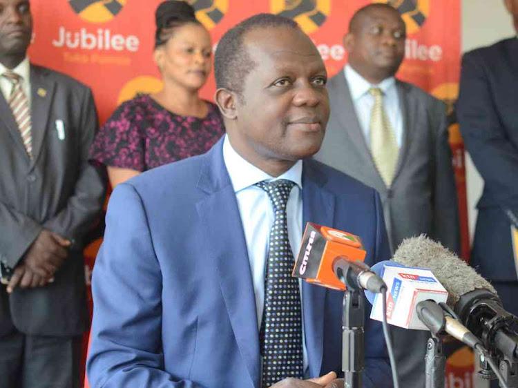 Jubilee secretary general Raphael Tuju addressing the media on the Wajir West By election on April 10, 2019.