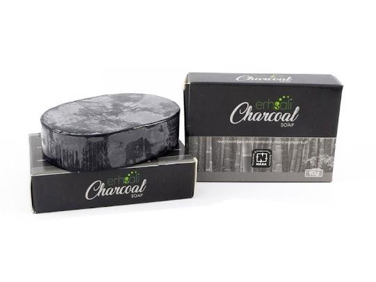 Charcoal Soap Erhsali NASA original asli NASA sabun arang mengtasi membersihkan bakteri kulit wajah badan