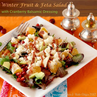 Winter Fruit & Feta Salad with Cranberry Balsamic Dressing.