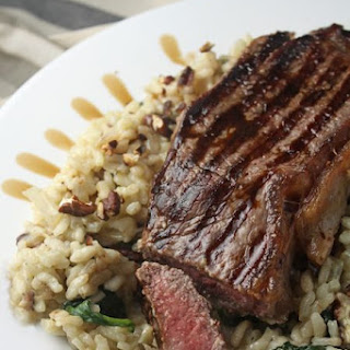 Steak On A Blue Cheese, Spinach & Pecan Risotto.
