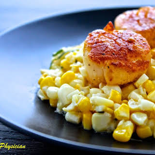 Seared Scallops with Creamy Corn.