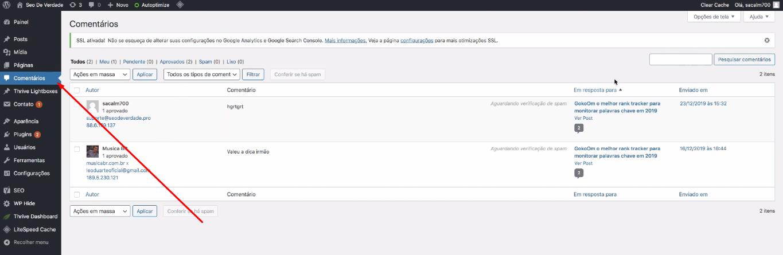 configuração de comentários em wordpress
