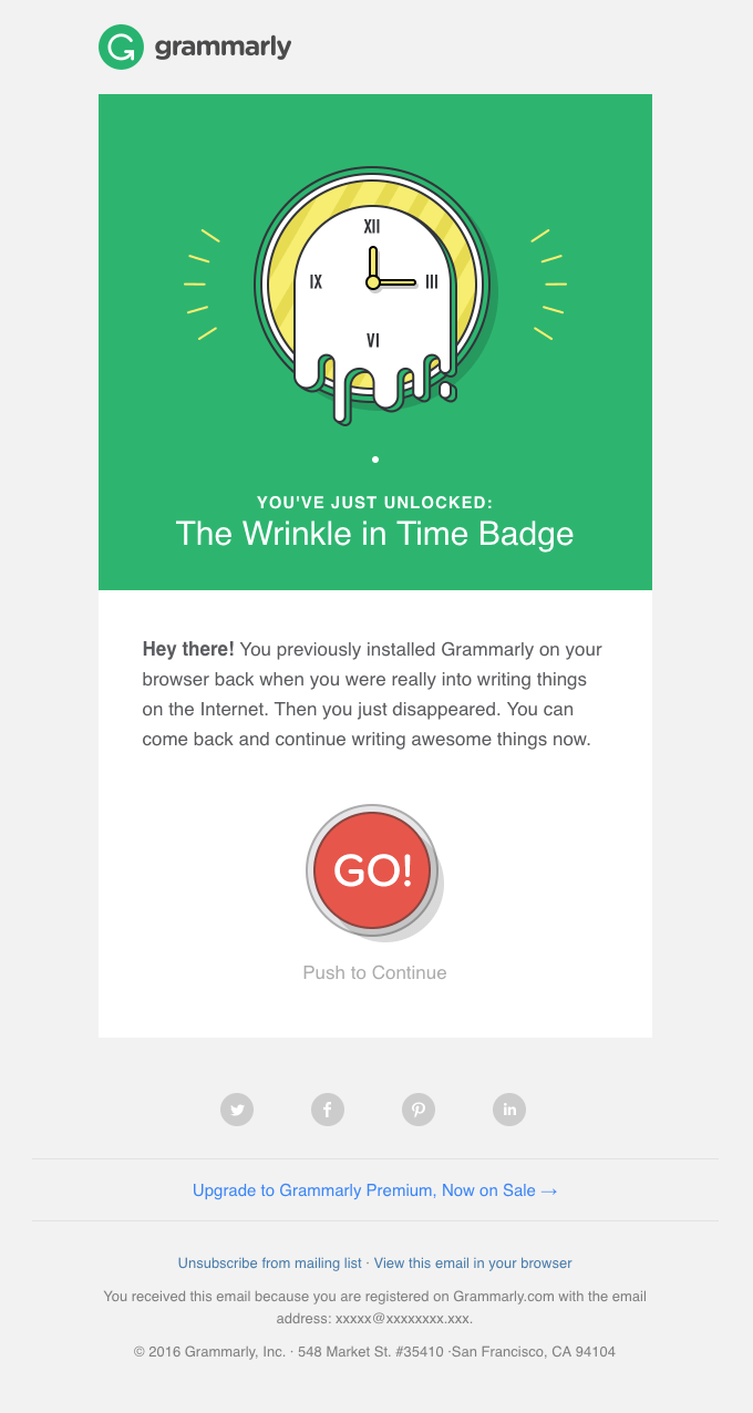 Email campaign example: Grammarly