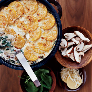 Polenta Gratin with Spinach and Wild Mushrooms.