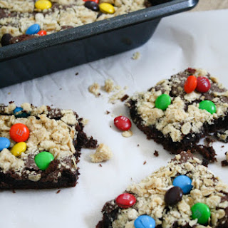 M&M Oat Crumble Cake Mix Cookie Bars