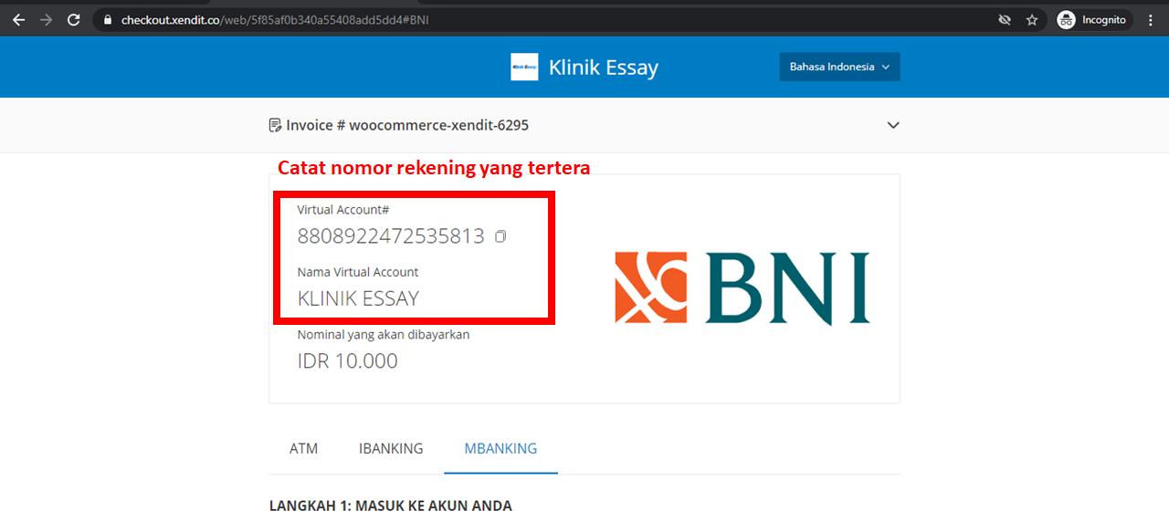 catat nomor rekening virtual account Klinik Essay sesuai invoice