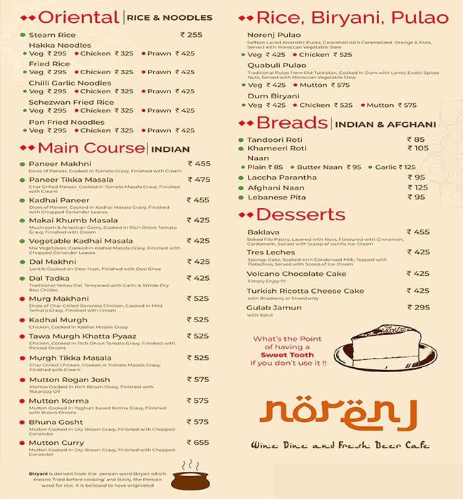 Norenj Wine Dine & Fresh Beer Cafe menu 5