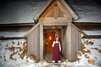 Photo: We are greeted at the Viking Long House - rebuilt on the actual remains of the longest one known in Norway