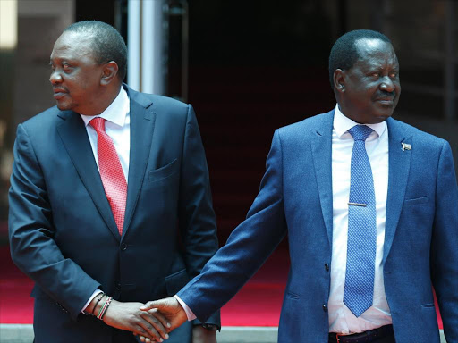 President Uhuru Kenyatta and Opposition leader Raila Odinga during the handshake on March 9, 2018.