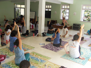 Photo: 1 Month YTT Course - Batch of May 2008 - Jeenal Mehta conducting Asana's Class (students preparing for Gomukhasana).