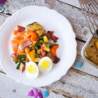 Salmon, Bacon & Asparagus Hash.