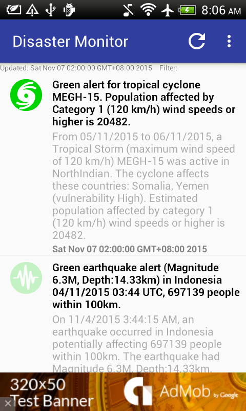 Natural Disaster Monitor- screenshot