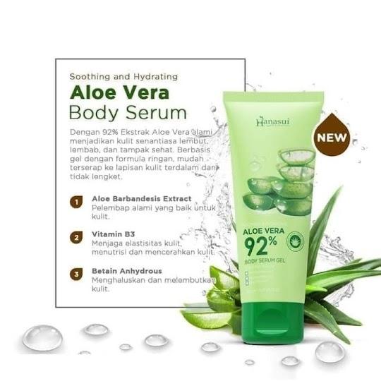 Aloe Vera Body Serum Gel HANASUI mencerahkan kulit nyaman digunakan tidak lengket