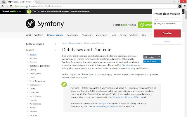 Symfony docs version changer