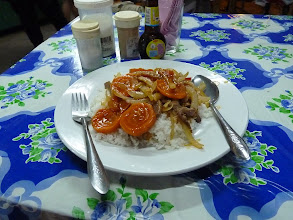 Photo: Pakse - sweet and sour pork with rice 10kK, nice restaurant on corner at junction next to Sabaday 2 GH