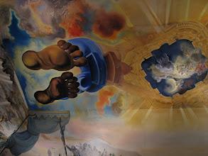 Photo: Dali self-portrait on the ceiling.