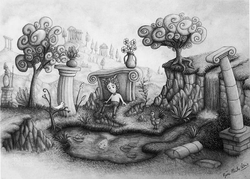 """Photo: """"Satiro Triste"""" pencil drawing  Author: Gaston Nicolas Alanis"""