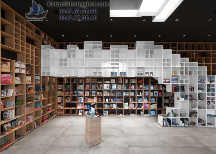 thiết kế nhà sách, thiết kế nội thất nhà sách
