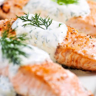 Salmon with Creamy Dill Sauce.