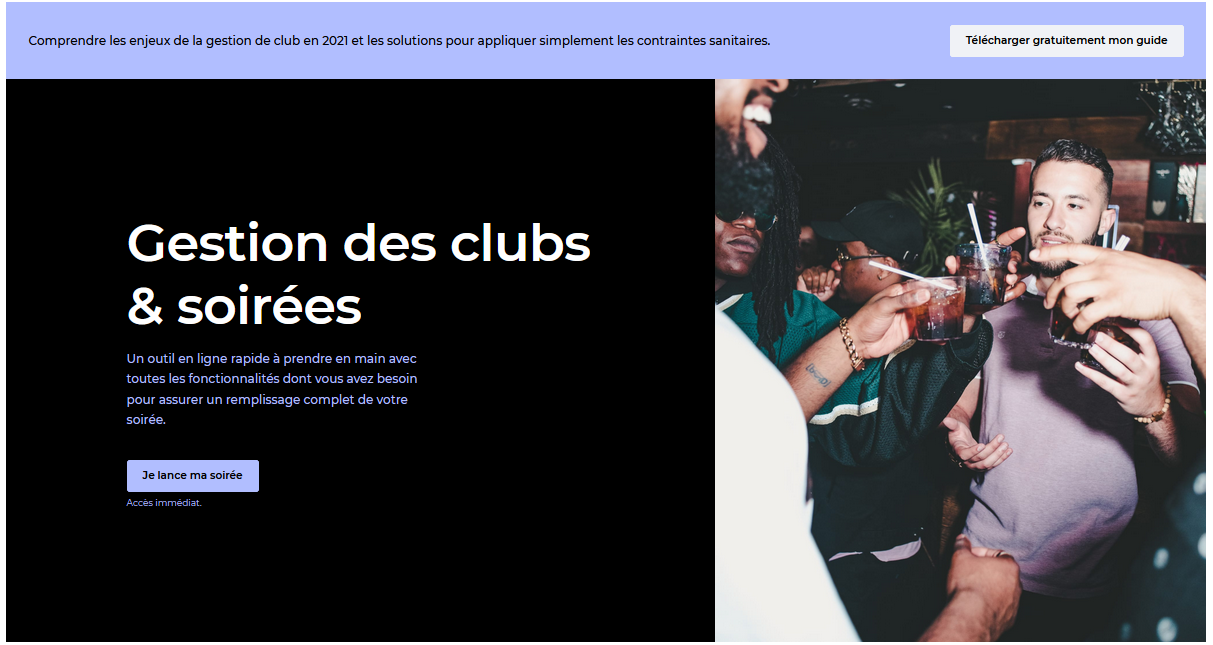 capture d'écran de la page Clubs et soirées sur le site web de Yurplan