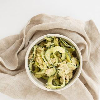 Avocado-Tuna Salad with Cucumber Noodles.