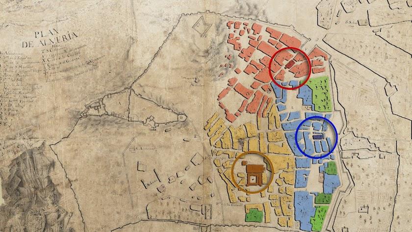 Las parroquias de intramuros: el Sagrario de la Catedral (amarillo), San Pedro (azul) y Santiago (rojo).