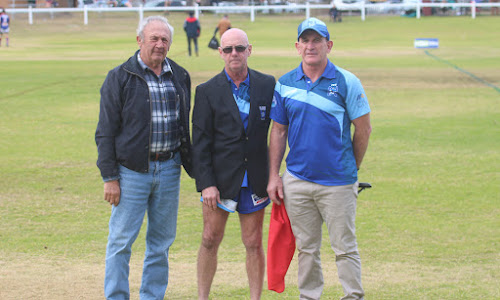Pat Mowle, middle, with his Narrabri Rugby League Football Club life member blazer, flanked by Frank Fish and Blues president Michael Gleeson.