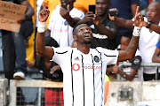 Tshegofatso Mabasa of Orlando Pirates celebrates his second goa during the Absa Premiership match between Orlando Pirates and Chippa United at Orlando Stadium on September 14, 2019 in Johannesburg, South Africa.