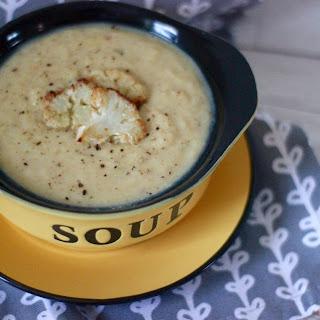 ROASTED CAULIFLOWER AND ROASTED GARLIC SOUP (vegan, gluten free).