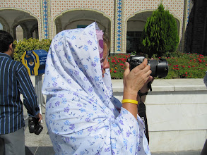 Photo: Day 151 -  Dee in Chador at Holy Shrine #2
