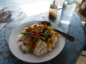 Photo: Ko Phangan - fried curry with chicken on rice (plus long beans) and modified by me with added dryed chilli and lots of spoons of chilli, so at least a bit spicy, 40B across the road from 7-Eleven at Chaloklum in local restaurant