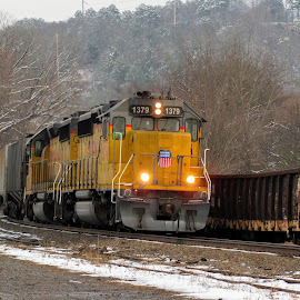 UP 1379 by Rick Covert - Transportation Trains ( railroad, snow, locomotive, arkansas, railroad tracks, arkansas photographer, trains )