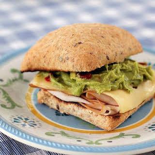 Simple Turkey, Swiss & Guacamole Toasted Sandwich.